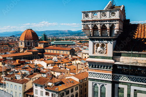 Tela Firenze old town panoramic view from Bell Tower Giotto's Campanile in Florence,