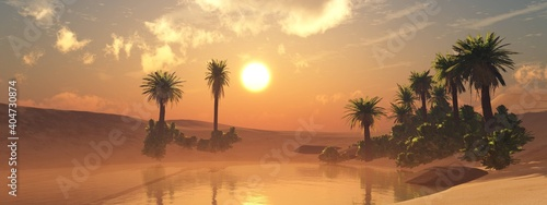 Oasis in the desert, oasis in the dunes, oasis with palm trees at sunset, desert sand with a pond, 3D rendering