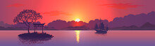Sunset With The Silhouette Of The Chinese Arch. Realistic Vector Illustration Background.