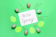 canvas print picture - Easter composition with text HELLO SPRING on color background