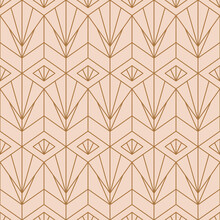 Art Deco Pink Seamless Pattern In A Trending Minimal Linear Style. Vector Abstract Geometric Background With Golden Triangles. For Packaging, Fabric Printing, Branding, Wallpaper, Covers