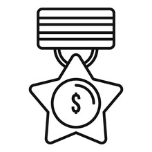 Trade War Medal Icon. Outline Trade War Medal Vector Icon For Web Design Isolated On White Background