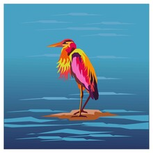 Illustration Of A Flamingo In The Water