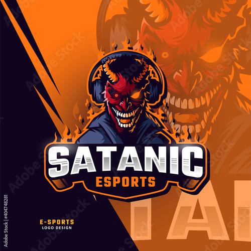 Fotografía Demons esport mascot logo design