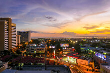 View Of The City During Sunset In Kingston, Jamaica.