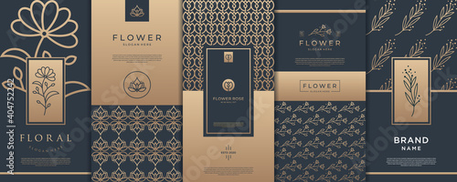 Fototapeta Gold product packaging collection logo design template. obraz