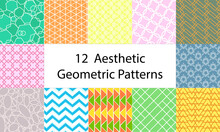 Set Of 12 Cute, Colorful, Aesthetic, Pastel, Geometric Patterns, Consists Triangle, Rectangle, Square, Circle, Oval, Zigzag, Hexagons, Star, Crisscross, Teal,blue,pink, Green,yellow,orange