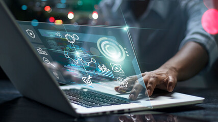 Data scientists. Man programmer using laptop analyzing and development at various information on futuristic virtual interface screen. Algorithm. marketing and deep learning of artificial intelligence