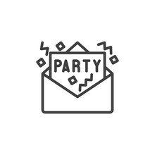 Party Invitation Card Line Icon. Linear Style Sign For Mobile Concept And Web Design. Party Greeting Card Outline Vector Icon. Symbol, Logo Illustration. Vector Graphics