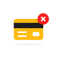 Payment Cancel With Yellow Credit Card