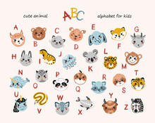 Cute Animals Alphabet For Children. Cartoon English Alphabet For Kids. Hand Drawn Lovely Baby Animal Faces With Doodle Latin Letters. Colorful Childish Vector ABC Poster For Preschool Education