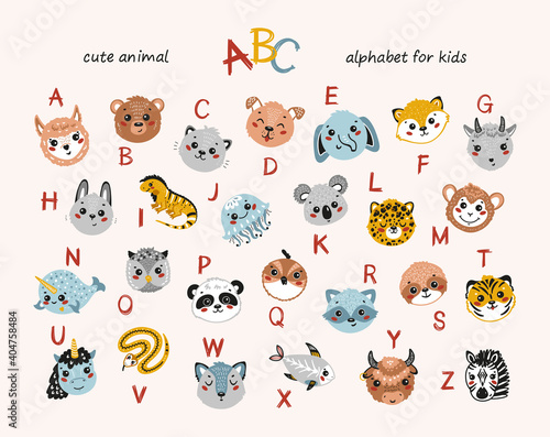 Fototapeta premium Cute Animals Alphabet for Children. Cartoon English Alphabet for Kids. Hand Drawn Lovely Baby Animal Faces with Doodle Latin Letters. Colorful Childish Vector ABC Poster for Preschool Education