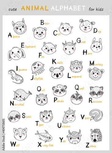 Fototapeta premium Cute Animals Alphabet for Kids. Cartoon English Alphabet for Children. Hand Drawn Lovely Baby Animal Faces with Doodle Latin Letters and Names. Childish Vector ABC Poster for Preschool Education