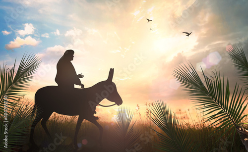 Fotografia, Obraz Palm Sunday concept: Silhouette Jesus Christ riding donkey on meadow sunset back