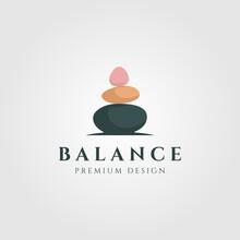 Stone Rock Balancing Zen Logo Wellness Vector Emblem Illustration Design