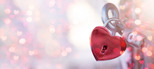 Valentines Day Wedding Love Birthday background banner panorama greeting card template - Red heart love padlocks with bright heart bokeh lights