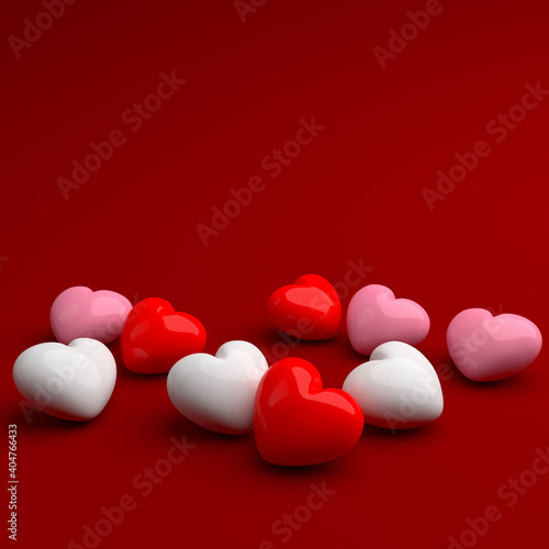 Hearts on a red background. 3D illustration. Background for design projects for St. Valentine's Day #404766433