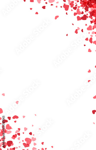 Red hearts confetti frame on white background. © Vjom