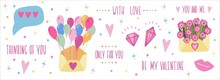 Set For Happy Valentine's Day. Cute Hand Drawn Elements And Lettering. Ideal For Card Poster Print. Hearts Puncake Gift Diamonds. Romantic Vector Illustration