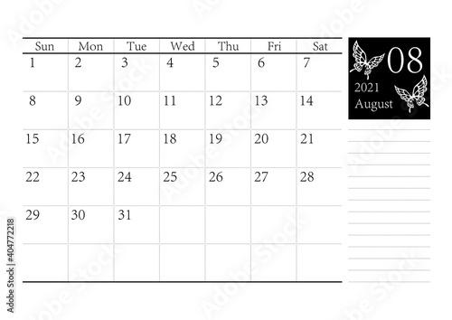 Fotografie, Obraz 胡蝶 アゲハチョウのシンプルなモノクロのカレンダー 2021年8月 ベクター