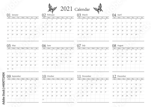Billede på lærred 胡蝶 アゲハチョウ 2021年のシンプルなモノクロのカレンダー 12カ月 ベクター