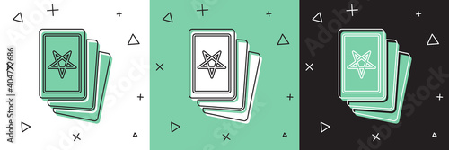 Fotografie, Obraz Set Three tarot cards icon isolated on white and green, black background