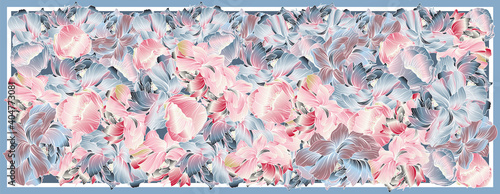 Obraz na plátně Delicate colors of silk scarf with flowering peony