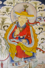 Colorful Traditional Wall Painting Of Pehar Protector Riding Snow Lion In Gangtey Gompa Or Monastery, Phobjikha Valley, Bhutan