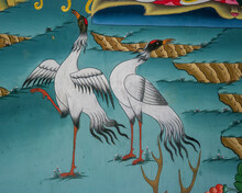 Detail Of Colorful Traditional Wall Painting Representing Black-necked Cranes In Gangtey Monastery, Phobjikha Valley, Bhutan
