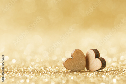 Obraz Two hearts on bokeh background - fototapety do salonu
