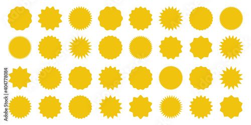 Obraz Yellow shopping labels collection. Sale or discount sticker. Special offer price tag. Supermarket promotional badge. Vector sunburst icon. - fototapety do salonu