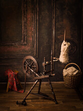 Room With Antique Spinning Wheel
