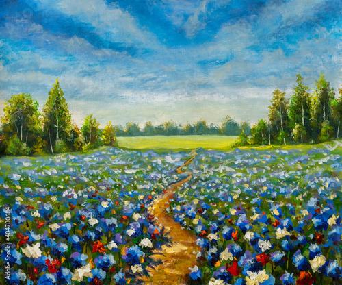 Obraz na plátne road through the flower field acrylic painting