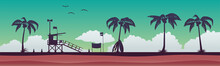 Lifeguard Station On The Beach At Sunset. Vector Illustration With A Tropical Landscape. Vector Illustration EPS 10.