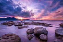Dramatic Sunset Over Calvi Bay In Corsica