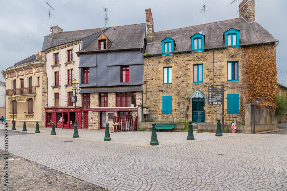 Fototapeta Vitre, France. Facades of old buildings in the historic center