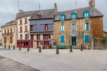 Vitre, France. Facades Of Old Buildings In The Historic Center