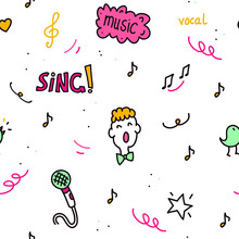 Seamless Vector Pattern With Choir Performance Doodles.
