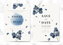 Floral Save The Date Card Set Vector