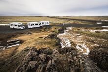 Campervans In Iceland. Landscape Of Iceland.