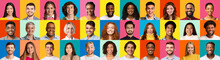 Set Of Different People Portraits Over Colored Backgrounds, Panorama, Collage