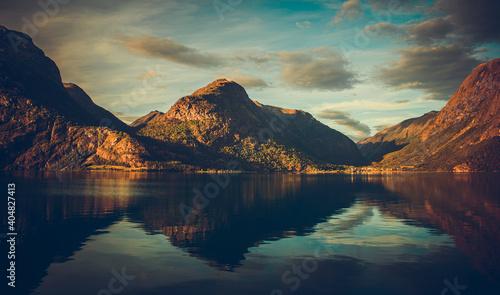 Norwegian Lake Oppstrynsvatnet Scenery