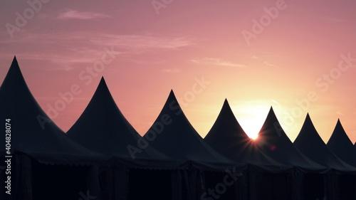 Billede på lærred Built Structures Against Sky During Sunset