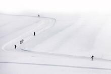 Menschen Machen Skilanglauf Im Schnee