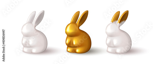 Carta da parati Set of realistic bunnies isolated on white background