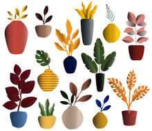 Set Of Colorful Vector Illustration Of Modern And Vintage Vases And Pots With Natural Organic Leaves.