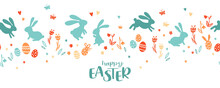 Lovely Hand Drawn Easter Design With Bunnies, Flowers And Easter Eggs, Cute Doodles Background, Great For Cards, Invitations, Banners, Wallpapers - Vector Design