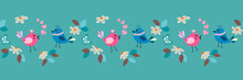 Easter, Springtime Day Seamless Border Pattern Background With Small Daisy, Butterfly And Cute Love Birds