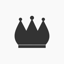 Black Crown Symbol Icon. Vector Illustration.