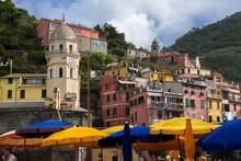 Colourful Sunshades On Piazza Marconi In The Pretty Seaside Village Of Vernazza, Cinque Terre, Liguria, Italy